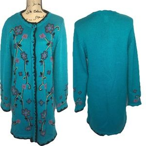 Victor Costa Occasions m teal long sweater floral
